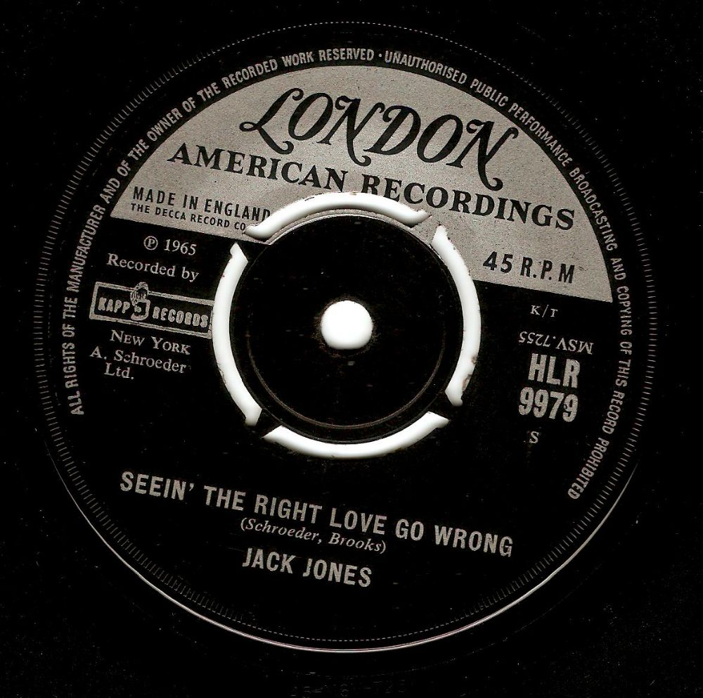 JACK JONES Seein' The Right Love Go Wrong Vinyl Record 7 Inch London 1965